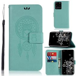 Intricate Embossing Owl Campanula Leather Wallet Case for Samsung Galaxy S20 Ultra / S11 Plus - Green