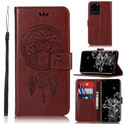 Intricate Embossing Owl Campanula Leather Wallet Case for Samsung Galaxy S20 Ultra / S11 Plus - Brown