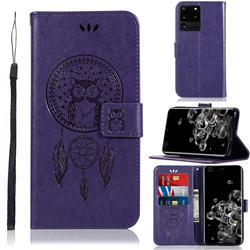 Intricate Embossing Owl Campanula Leather Wallet Case for Samsung Galaxy S20 Ultra / S11 Plus - Purple