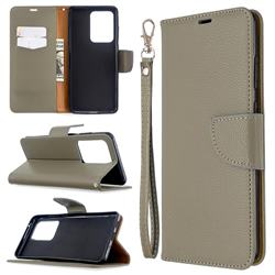 Classic Luxury Litchi Leather Phone Wallet Case for Samsung Galaxy S20 Ultra / S11 Plus - Gray