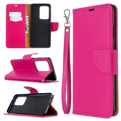 Classic Luxury Litchi Leather Phone Wallet Case for Samsung Galaxy S20 Ultra / S11 Plus - Rose