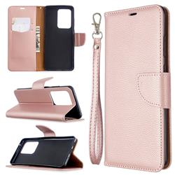 Classic Luxury Litchi Leather Phone Wallet Case for Samsung Galaxy S20 Ultra / S11 Plus - Golden