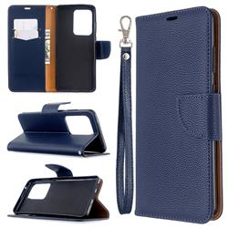 Classic Luxury Litchi Leather Phone Wallet Case for Samsung Galaxy S20 Ultra / S11 Plus - Blue