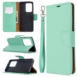 Classic Luxury Litchi Leather Phone Wallet Case for Samsung Galaxy S20 Ultra / S11 Plus - Green