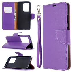 Classic Luxury Litchi Leather Phone Wallet Case for Samsung Galaxy S20 Ultra / S11 Plus - Purple