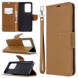Classic Luxury Litchi Leather Phone Wallet Case for Samsung Galaxy S20 Ultra / S11 Plus - Brown
