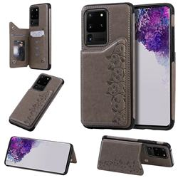 Yikatu Luxury Cute Cats Multifunction Magnetic Card Slots Stand Leather Back Cover for Samsung Galaxy S20 Ultra / S11 Plus - Gray