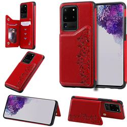 Yikatu Luxury Cute Cats Multifunction Magnetic Card Slots Stand Leather Back Cover for Samsung Galaxy S20 Ultra / S11 Plus - Red
