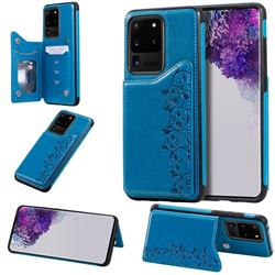Yikatu Luxury Cute Cats Multifunction Magnetic Card Slots Stand Leather Back Cover for Samsung Galaxy S20 Ultra / S11 Plus - Blue