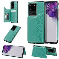 Yikatu Luxury Cute Cats Multifunction Magnetic Card Slots Stand Leather Back Cover for Samsung Galaxy S20 Ultra / S11 Plus - Green
