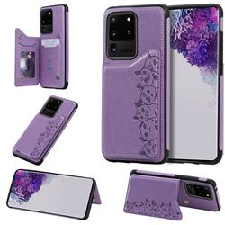 Yikatu Luxury Cute Cats Multifunction Magnetic Card Slots Stand Leather Back Cover for Samsung Galaxy S20 Ultra / S11 Plus - Purple
