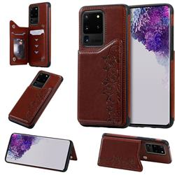 Yikatu Luxury Cute Cats Multifunction Magnetic Card Slots Stand Leather Back Cover for Samsung Galaxy S20 Ultra / S11 Plus - Brown