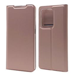 Ultra Slim Card Magnetic Automatic Suction Leather Wallet Case for Samsung Galaxy S20 Ultra / S11 Plus - Rose Gold