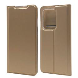 Ultra Slim Card Magnetic Automatic Suction Leather Wallet Case for Samsung Galaxy S20 Ultra / S11 Plus - Champagne