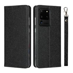 Ultra Slim Magnetic Automatic Suction Silk Lanyard Leather Flip Cover for Samsung Galaxy S20 Ultra / S11 Plus - Black