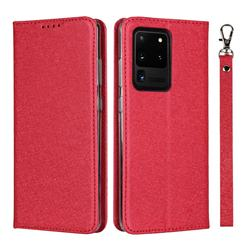 Ultra Slim Magnetic Automatic Suction Silk Lanyard Leather Flip Cover for Samsung Galaxy S20 Ultra / S11 Plus - Red