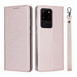 Ultra Slim Magnetic Automatic Suction Silk Lanyard Leather Flip Cover for Samsung Galaxy S20 Ultra / S11 Plus - Rose Gold
