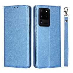 Ultra Slim Magnetic Automatic Suction Silk Lanyard Leather Flip Cover for Samsung Galaxy S20 Ultra / S11 Plus - Sky Blue