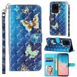 Rankine Butterfly 3D Leather Phone Holster Wallet Case for Samsung Galaxy S20 Ultra / S11 Plus