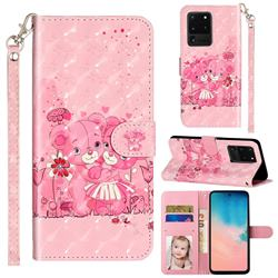 Pink Bear 3D Leather Phone Holster Wallet Case for Samsung Galaxy S20 Ultra / S11 Plus