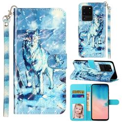 Snow Wolf 3D Leather Phone Holster Wallet Case for Samsung Galaxy S20 Ultra / S11 Plus