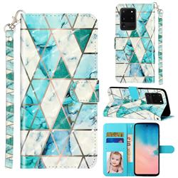 Stitching Marble 3D Leather Phone Holster Wallet Case for Samsung Galaxy S20 Ultra / S11 Plus