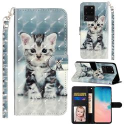 Kitten Cat 3D Leather Phone Holster Wallet Case for Samsung Galaxy S20 Ultra / S11 Plus