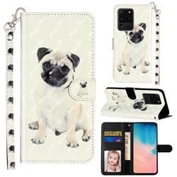 Pug Dog 3D Leather Phone Holster Wallet Case for Samsung Galaxy S20 Ultra / S11 Plus