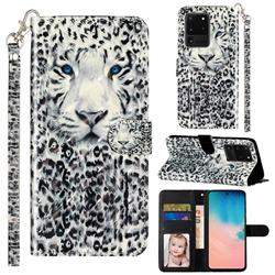 White Leopard 3D Leather Phone Holster Wallet Case for Samsung Galaxy S20 Ultra / S11 Plus