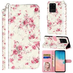 Rambler Rose Flower 3D Leather Phone Holster Wallet Case for Samsung Galaxy S20 Ultra / S11 Plus