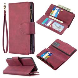 Binfen Color BF02 Sensory Buckle Zipper Multifunction Leather Phone Wallet for Samsung Galaxy S20 Ultra / S11 Plus - Red Wine