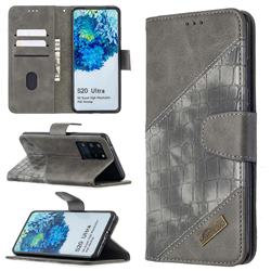 BinfenColor BF04 Color Block Stitching Crocodile Leather Case Cover for Samsung Galaxy S20 Ultra / S11 Plus - Gray