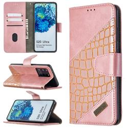 BinfenColor BF04 Color Block Stitching Crocodile Leather Case Cover for Samsung Galaxy S20 Ultra / S11 Plus - Rose Gold