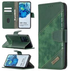 BinfenColor BF04 Color Block Stitching Crocodile Leather Case Cover for Samsung Galaxy S20 Ultra / S11 Plus - Green