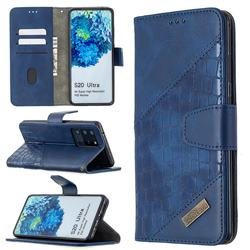 BinfenColor BF04 Color Block Stitching Crocodile Leather Case Cover for Samsung Galaxy S20 Ultra / S11 Plus - Blue