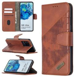BinfenColor BF04 Color Block Stitching Crocodile Leather Case Cover for Samsung Galaxy S20 Ultra / S11 Plus - Brown