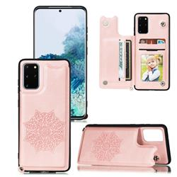 Luxury Mandala Multi-function Magnetic Card Slots Stand Leather Back Cover for Samsung Galaxy S20 Ultra / S11 Plus - Rose Gold