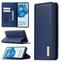 Binfen Color BF06 Luxury Classic Genuine Leather Detachable Magnet Holster Cover for Samsung Galaxy S20 Ultra / S11 Plus - Blue