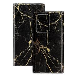 Black Gold Marble PU Leather Wallet Case for Samsung Galaxy S20 Ultra / S11 Plus
