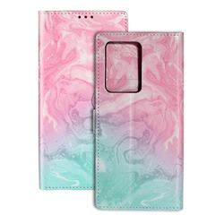 Pink Green Marble PU Leather Wallet Case for Samsung Galaxy S20 Ultra / S11 Plus