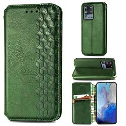 Ultra Slim Fashion Business Card Magnetic Automatic Suction Leather Flip Cover for Samsung Galaxy S20 Ultra / S11 Plus - Green