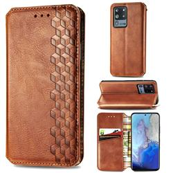 Ultra Slim Fashion Business Card Magnetic Automatic Suction Leather Flip Cover for Samsung Galaxy S20 Ultra / S11 Plus - Brown