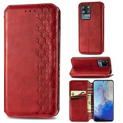 Ultra Slim Fashion Business Card Magnetic Automatic Suction Leather Flip Cover for Samsung Galaxy S20 Ultra / S11 Plus - Red
