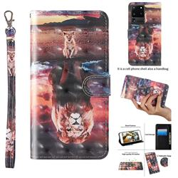 Fantasy Lion 3D Painted Leather Wallet Case for Samsung Galaxy S20 Ultra / S11 Plus