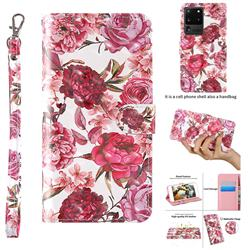 Red Flower 3D Painted Leather Wallet Case for Samsung Galaxy S20 Ultra / S11 Plus