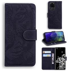 Intricate Embossing Tiger Face Leather Wallet Case for Samsung Galaxy S20 Ultra / S11 Plus - Black