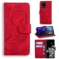 Intricate Embossing Tiger Face Leather Wallet Case for Samsung Galaxy S20 Ultra / S11 Plus - Red