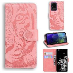 Intricate Embossing Tiger Face Leather Wallet Case for Samsung Galaxy S20 Ultra / S11 Plus - Pink