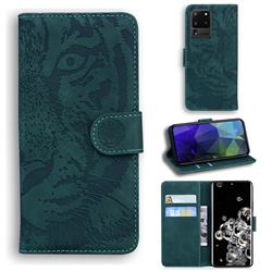Intricate Embossing Tiger Face Leather Wallet Case for Samsung Galaxy S20 Ultra / S11 Plus - Green