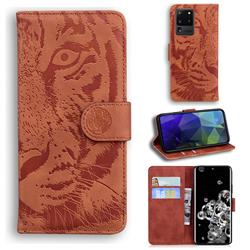 Intricate Embossing Tiger Face Leather Wallet Case for Samsung Galaxy S20 Ultra / S11 Plus - Brown